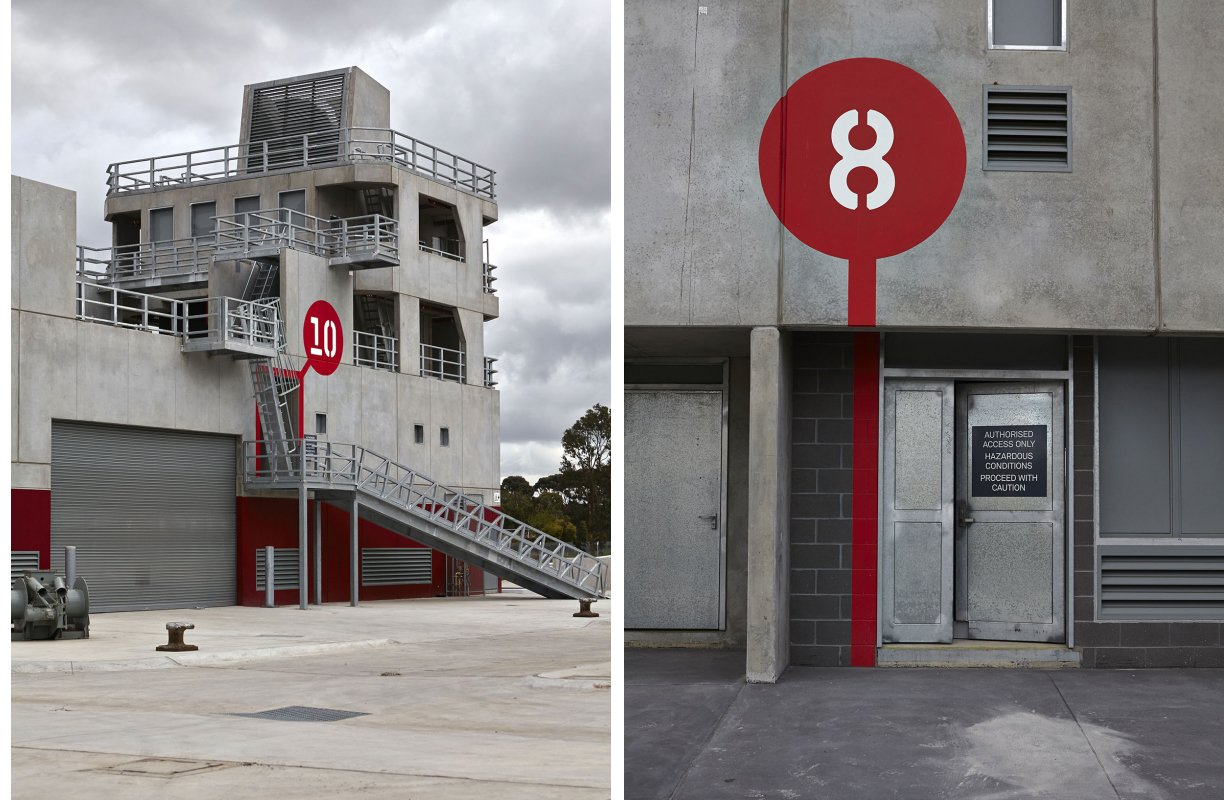 Particular focus was given to entry to the site and navigation of the Urban Training Environment. The scale of the information across the site varies widely depending on the intended audience.   Way-Finding Systems by Rob Hewitt