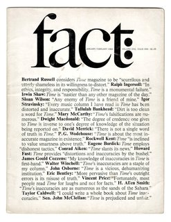 New York's Hidden  Graphic Design Gem - Photo 2 of 6 - The inaugural issue of Fact launched by Ralph Ginsburg and Herb Lubalin in January 1964. A typical example of a Fact cover - they were stark, black and white, and mostly typographic.Lubalin introduced many subtle flourishes and as always, the kerning, leading and line breaks are handled with consummate skill.