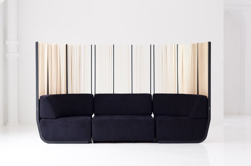Hull Sofa is a sectional, allowing for infinite configurations. The slats are made from white ash, and can easily be replaced by sliding out the aluminum key.    #flexible #slats #tallgrass #semiprivate #quiet #security #sofa #design #furniture #exterior #interior #modern #functional #hull #knaufandbrown #canada  Hull Sofa by Knauf and Brown
