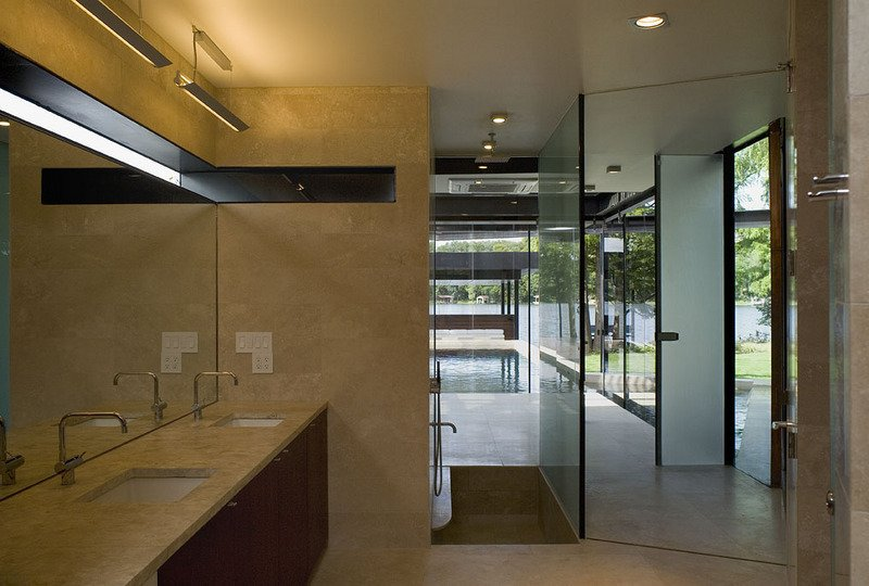 #PeninsulaResidence #lakeside #glass #steel #materials #modern #bathroom #mirror #windows #lighting #structure #interior #inside #indoors #LakeAustin #BercyChenStudio  The Peninsula Residence by Bercy Chen Studio
