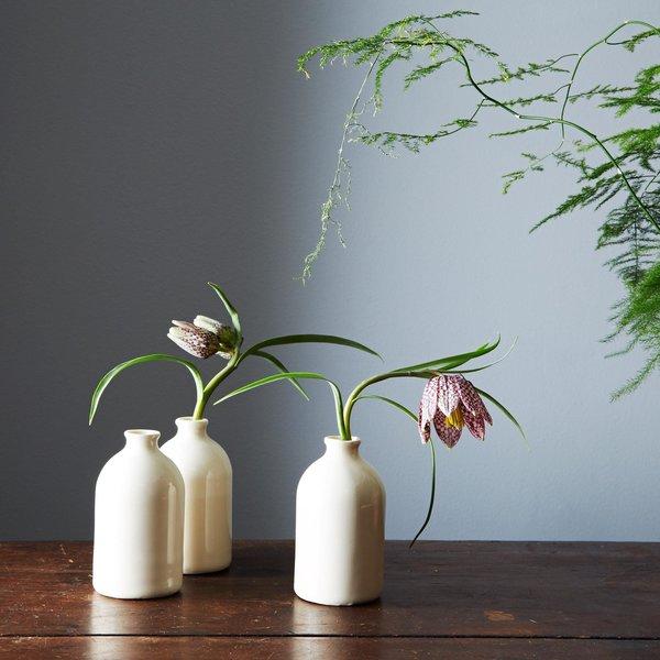White Bud Vases