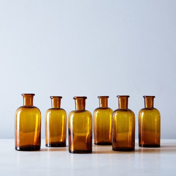Vintage French Small Amber Apothecary Jars