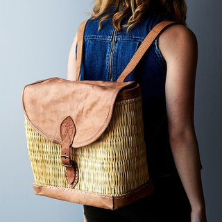 Moroccan Woven & Leather Backpack