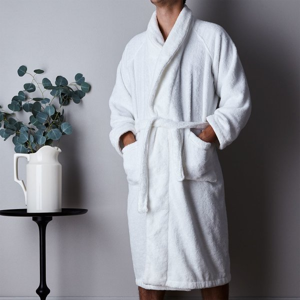 Unisex White Plush Bathrobe