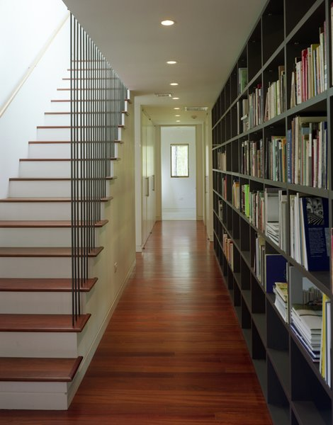 #CopperHouse #modern #corrugatedcopper #patina #transformation #structure #form #interior #inside #indoors #hallway #staircase #bookshelves #lighting #HudsonValley #JaredDellaValle #BernheimerArchitecture Photo 5 of Copper House Hillsdale modern home