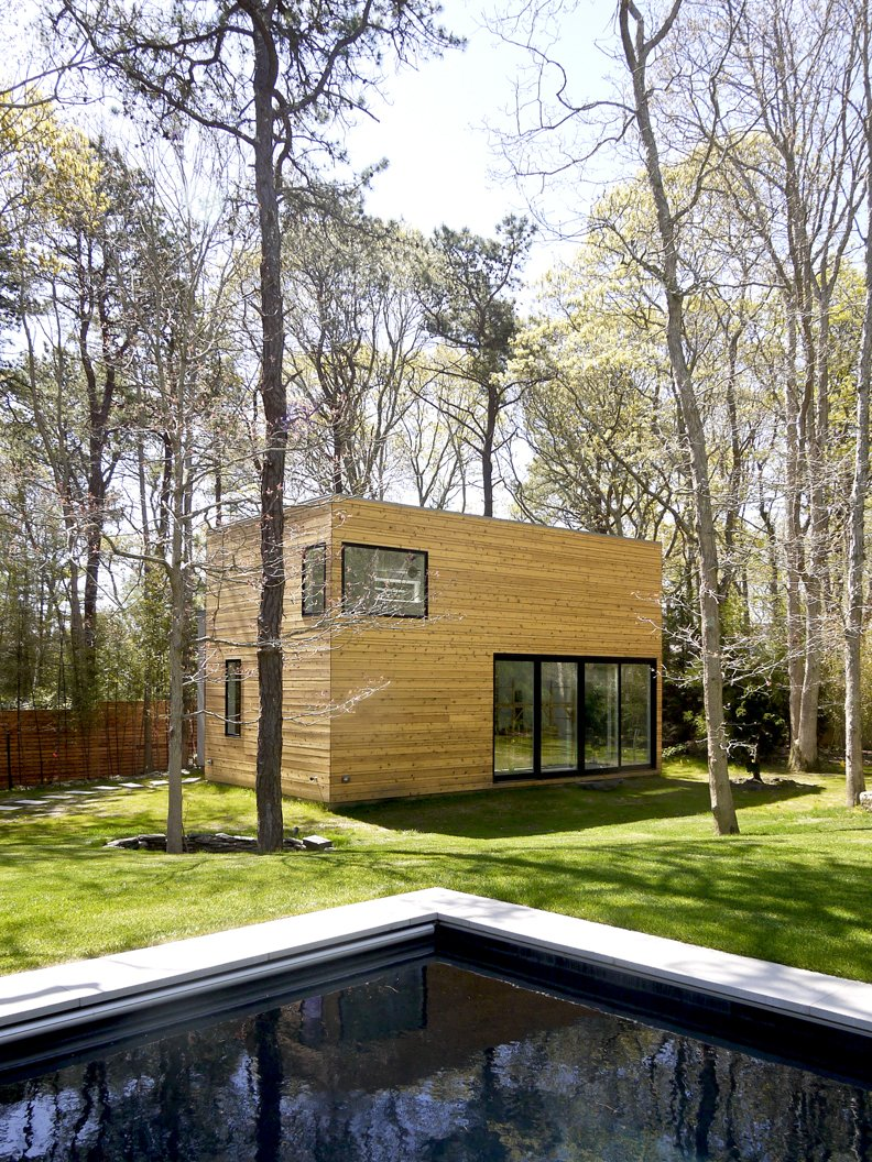 #LightboxWainscott #structure #form #stackedboxes #modern #exterior #outside #outdoors #landscape #pool #JaredDellavalle #BernheimerArchitects