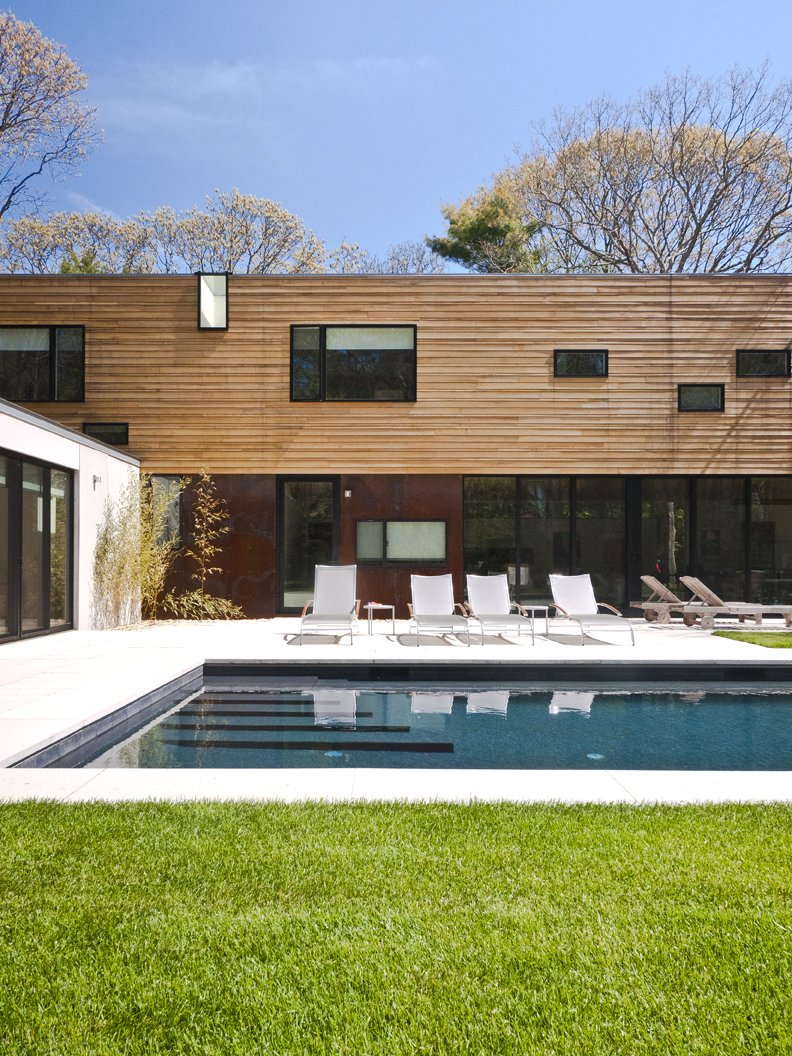 #LightboxWainscott #structure #form #stackedboxes #modern #exterior #outside #outdoors #landscape #seating #pool #JaredDellavalle #BernheimerArchitects  Lightbox Wainscott by Bernheimer Architecture