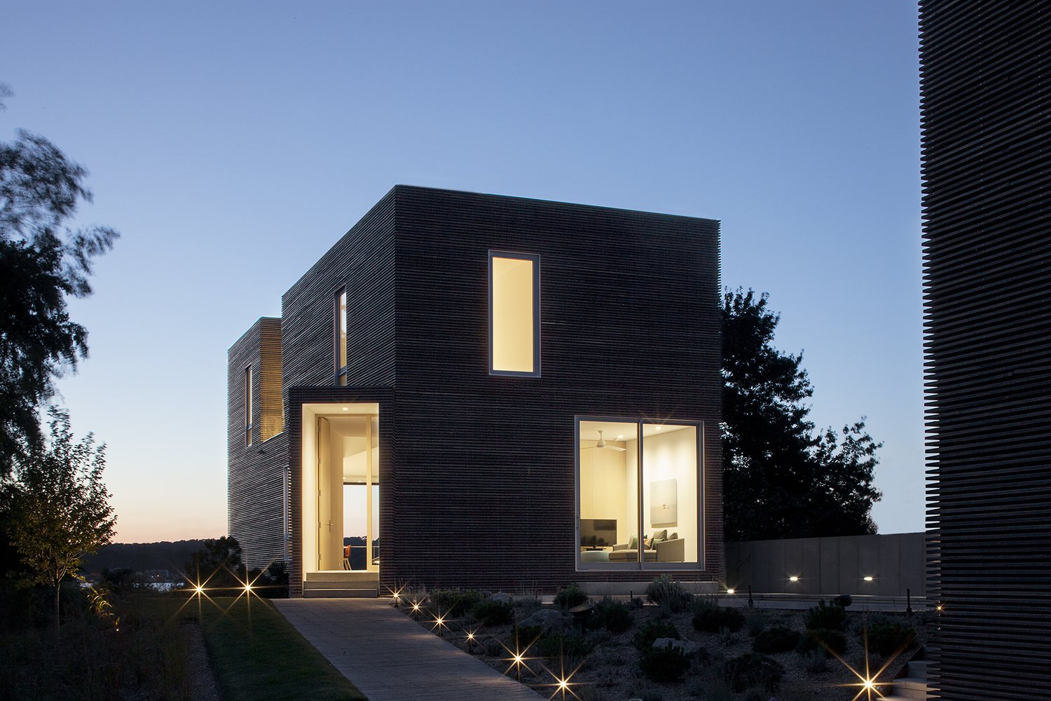 #QuonochontaugHouse #structure #form #coastal #exterior #outside #outdoors #landscape #windows #lighting #entryway #doorway #RhodeIsland #BernheimerArchitects  Quonochontaug House by Bernheimer Architecture