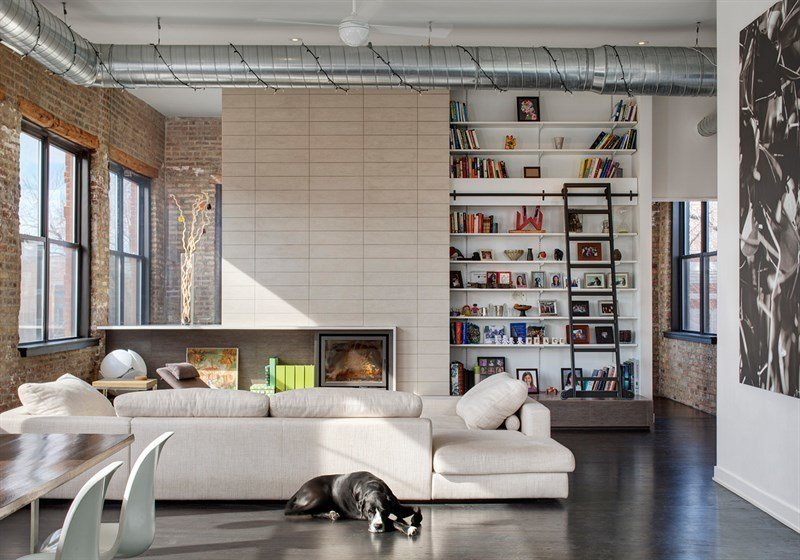 #1101NDamen #structure #form #modern #midcentury #interior #inside #indoors #livingroom #seating #fireplace #bookshelves #ladder #dog #2008 #BlenderArchitecture