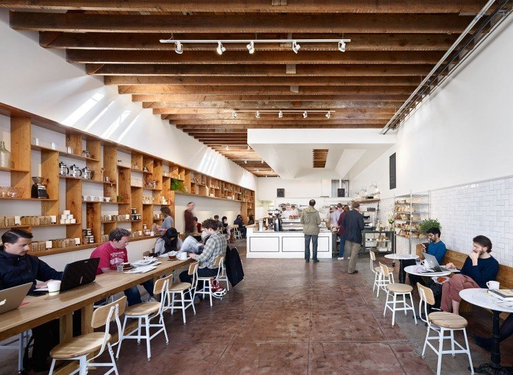 #TheMill #modern #dining #cafe #collaborative #bright #warm #wood #palette #welcoming #interior #inside #indoors #tables #chairs #counter #coffee #lighting #beams #2013 #SanFrancisco #BoorBridgesArchitecture  The Mill by Boor Bridges Architecture