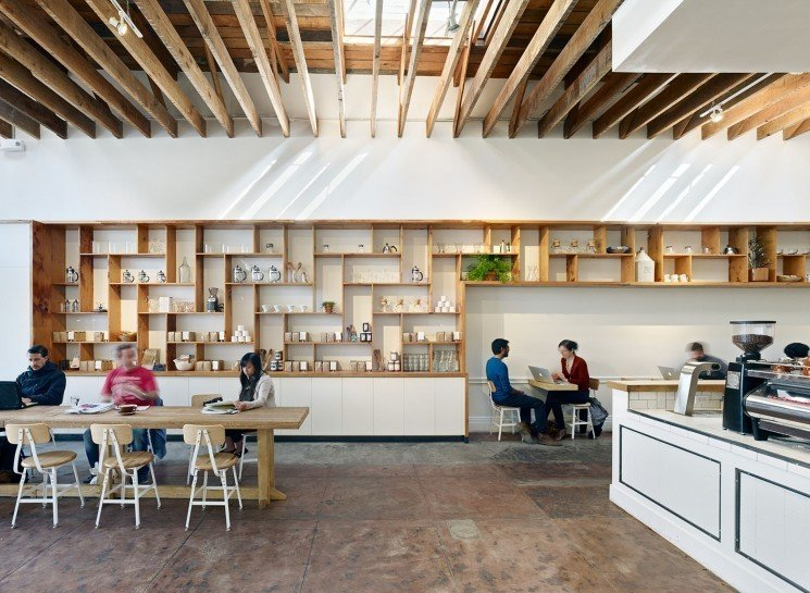 #TheMill #modern #dining #cafe #collaborative #bright #warm #wood #palette #welcoming #interior #inside #indoors #seatinf #table #shelves #storage #counter #beams #skylight #2013 #SanFrancisco #BoorBridgesArchitecture  The Mill by Boor Bridges Architecture