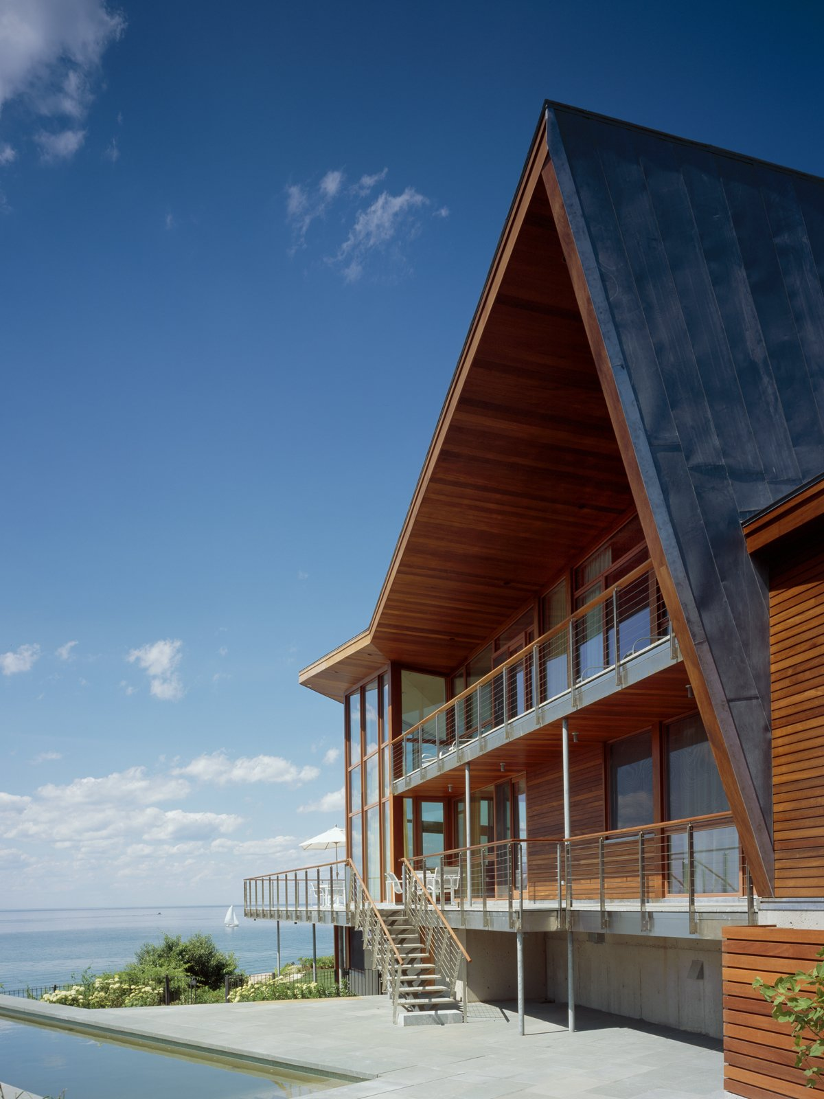 #JIBHouse #modern #structure #form #exterior #outside #outdoors #view #angles #window #landscape #naturallight #deck #staircase #angles #Glouchester #AtlanticOcean #2004 #CharlesRoseArchitects  JIB House by Charles Rose Architects