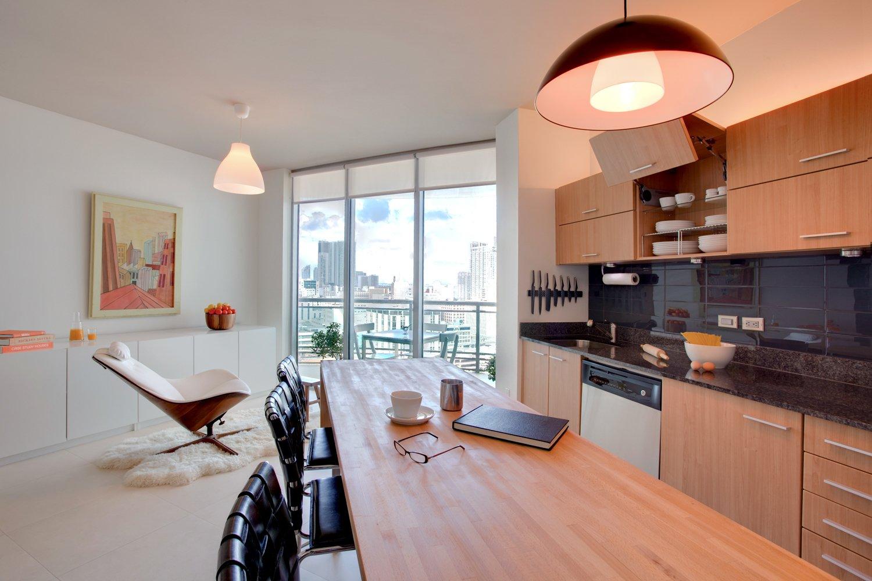 #modern #architecture #modernarchitecture #apartment #condo #condominium #minimal #kitchen #lounge #balcony #DENArchitecture #Miami  Wind Apartment Interiors by DEN Architecture
