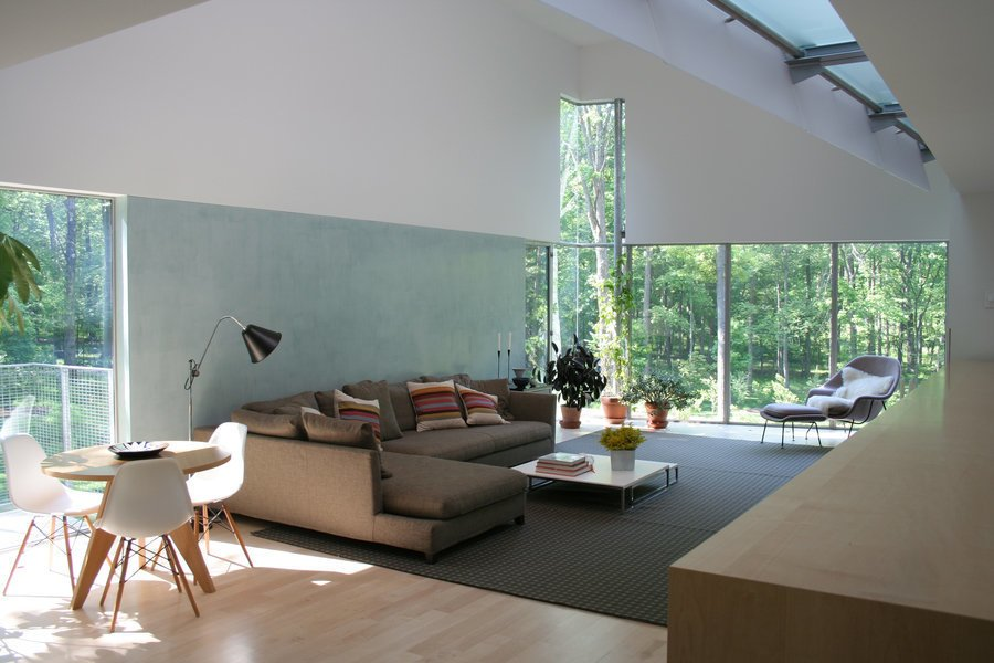#interior #inside #indoor #livingroom #diningroom #Eames #WombChair #plant #couch #rug #window #glass #Princeton #NewJersey #GarrisonArchitects  Iversen Kaplan Residence by Garrison Architects