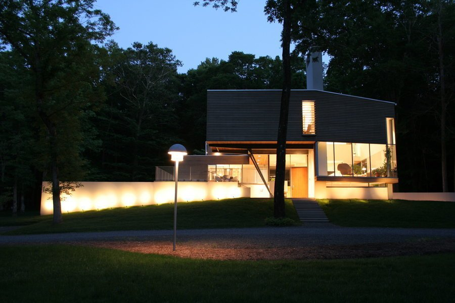 #outside #exterior #outdoor #landscape #light #night #view #green #trees #window #glass #Princeton #NewJersey #GarrisonArchitects  Iversen Kaplan Residence by Garrison Architects