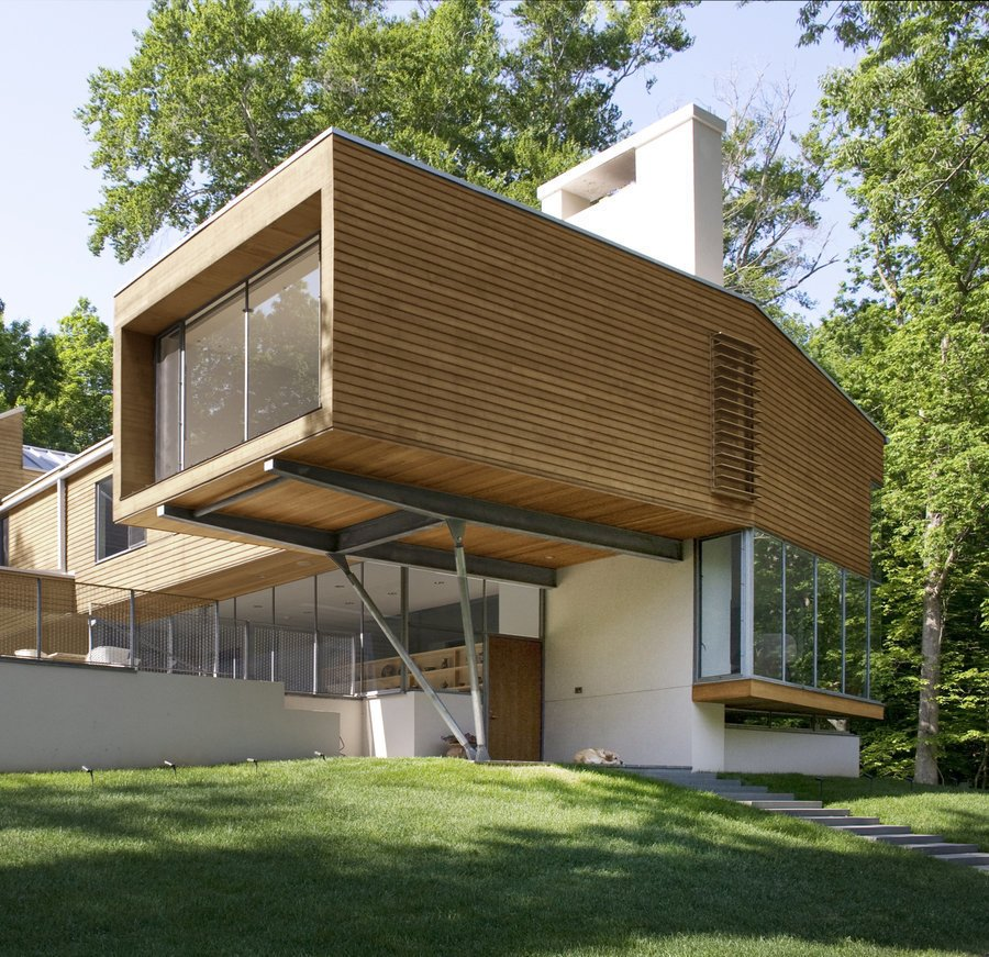 #outside #exterior #outside #landscape #stairs #green #eco #Princeton #NewJersey #GarrisonArchitects  Iversen Kaplan Residence by Garrison Architects