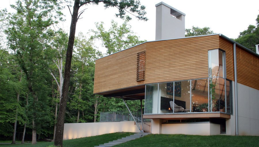 #outside #exterior #outdoor #modern #window #glass #eco #green #stairs #trees #Princeton #NewJersey #GarrisonArchitects  Iversen Kaplan Residence by Garrison Architects