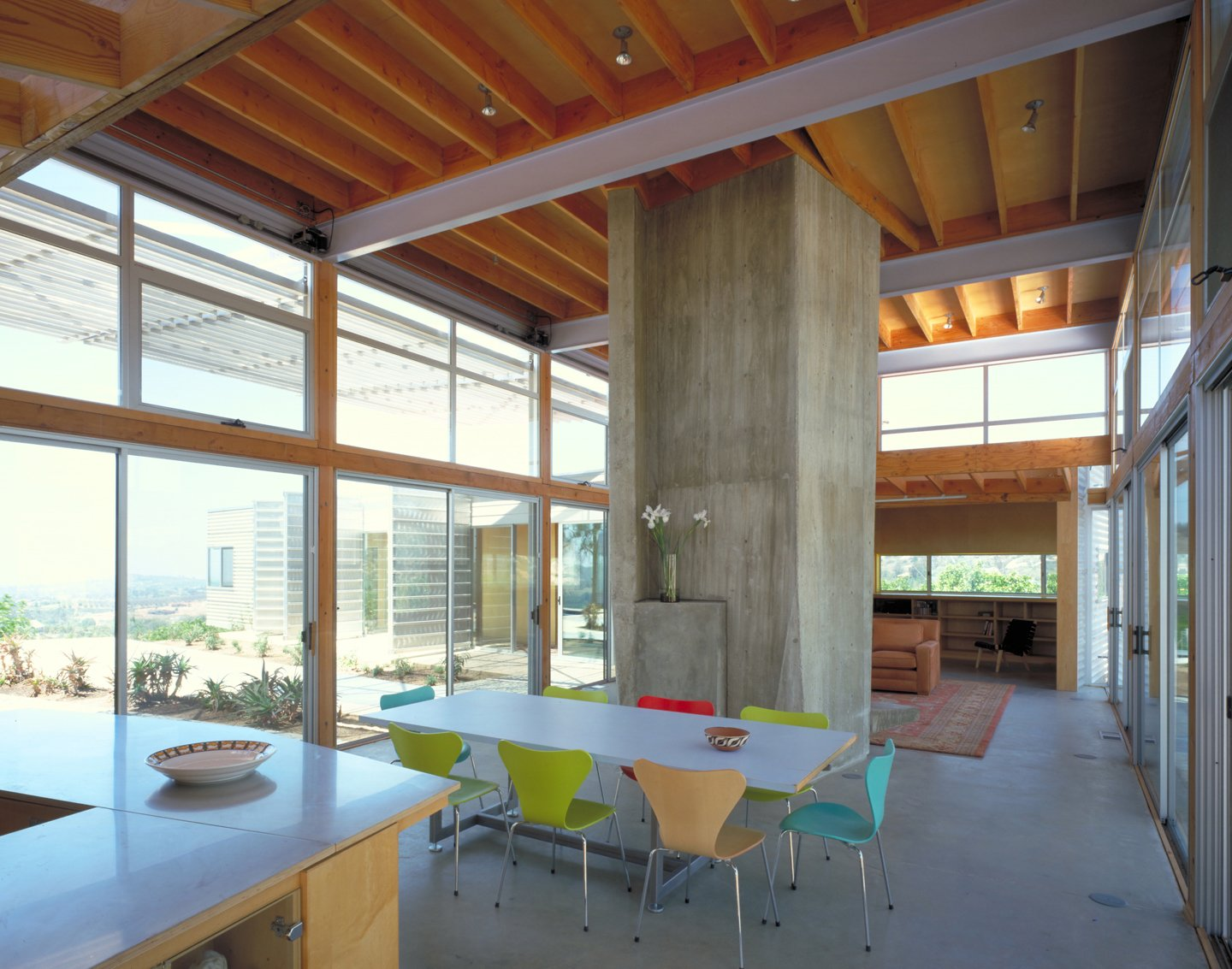#interior #inside #indoor #diningroom #kitchen #concrete #color #table #chair #eco #green #sustainable #ValleyCenter #California #KevinDalyArchitects  Valley Center House by Kevin Daly Architects
