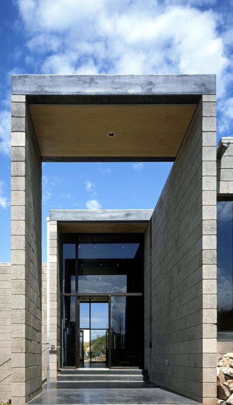 #modern #garciaresidence #ibarrarosanodesignarchitects #architecture #landscape #exterior #arizona #entrance #outdoor #hallway #glass #glassdoor  Garcia Residence by Ibarra Rosano Design Architects