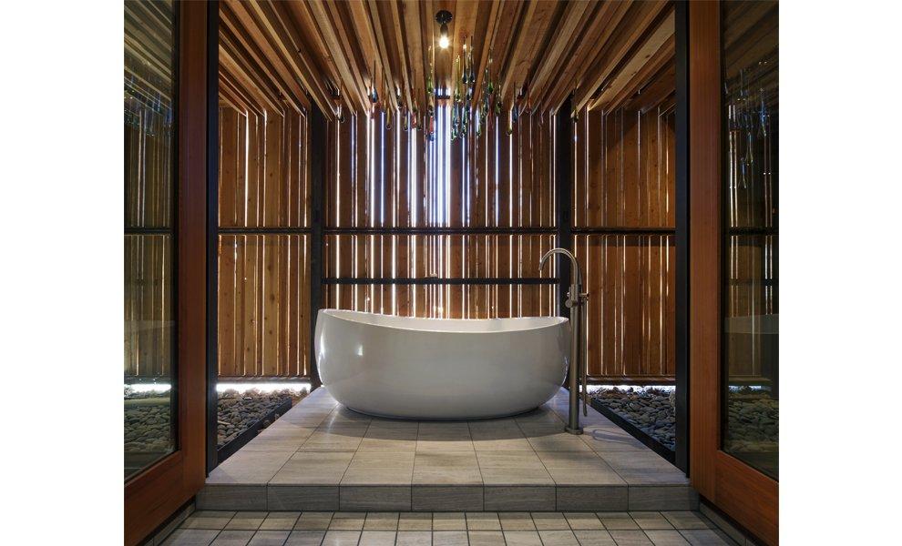 #interior #exterior #modern #arizona #2012 #architecture #jonesstudio #residence #lighting #naturallighting #bathroom #spa #desert #faucet  The Outpost by Jones Studio