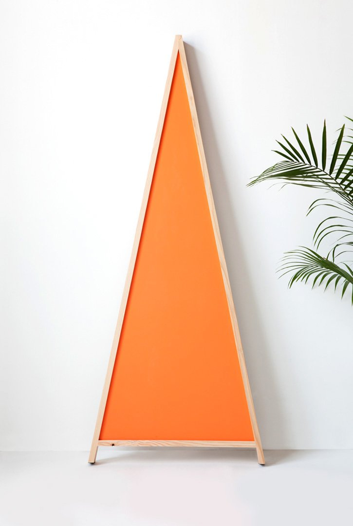 #movingmountains #aframe #mirror #furniture #interior #modern #design #triangle #douglasfir #color #orange #graphic #vibrant  A-Frame Mirror by Moving Mountains
