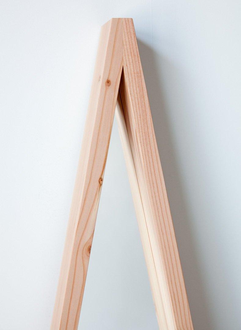 #movingmountains #aframe #mirror #furniture #interior #modern #design #triangle #douglasfir #color #orange #graphic #vibrant  A-Frame Mirror by Moving Mountains