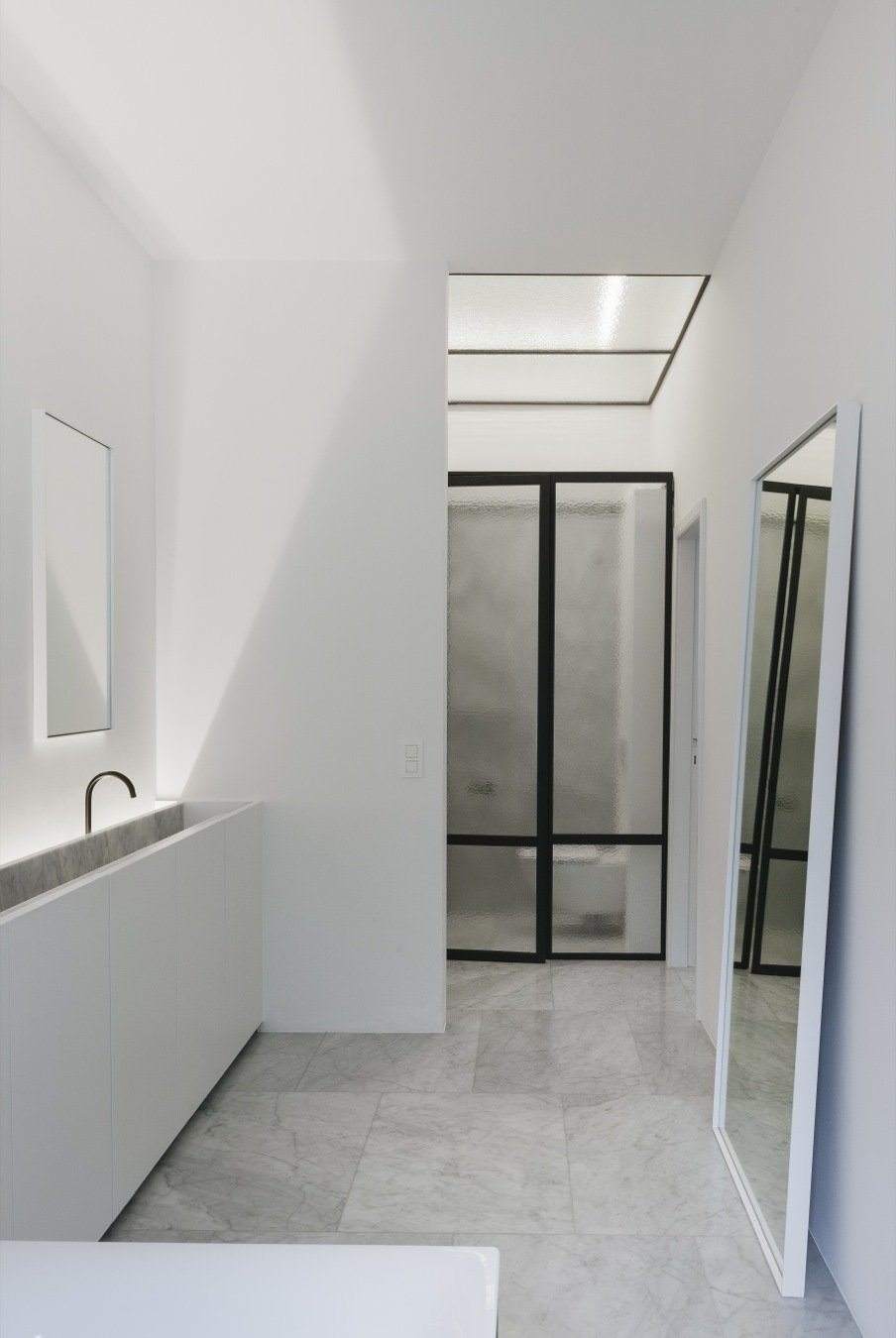 Tagged: Bath Room, Ceiling Lighting, and Vessel Sink.  Photo 11 of 11 in 10 Minimalist and Monochromatic Homes in Belgium from House F Antwerp by Hans Verstuyft Architecten