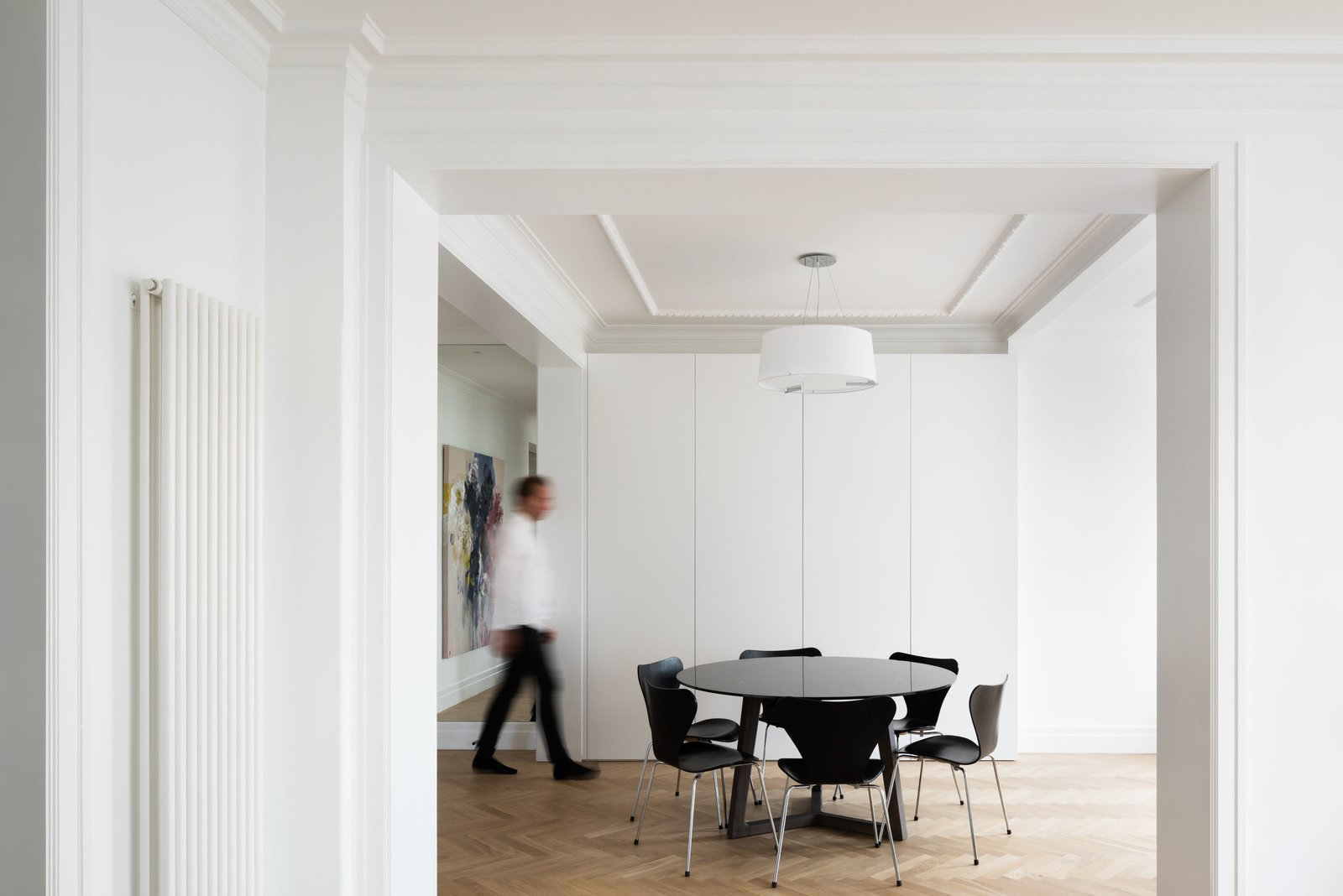 Dining Room Tagged: Dining Room, Table, Chair, Pendant Lighting, and Light Hardwood Floor.  K Apartment by Leibal