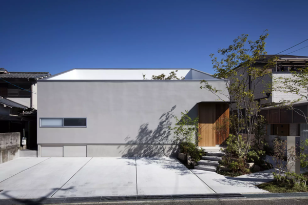 Modern home with outdoor and front yard. Photo  of House in Mihara