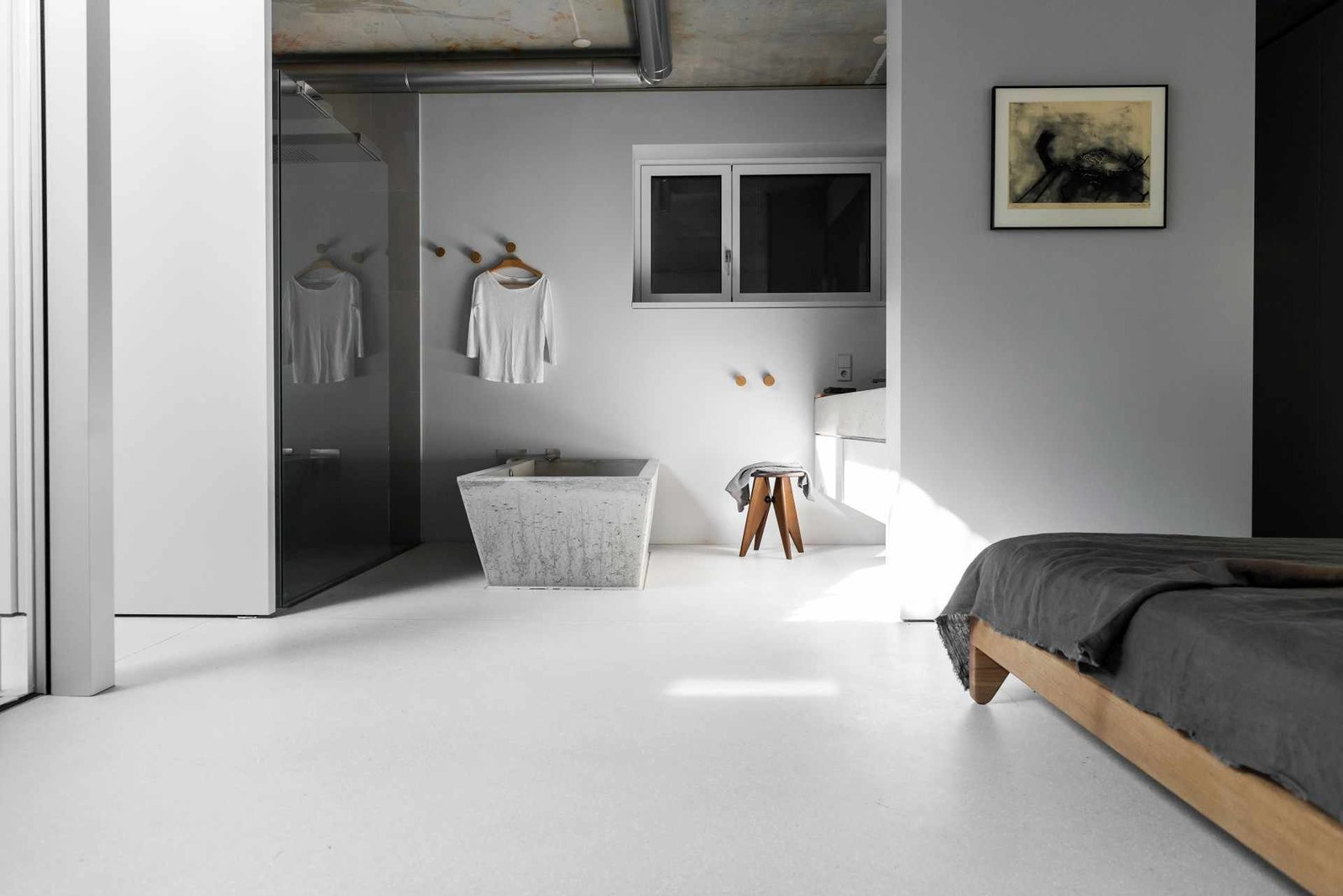 Tagged: Bath Room, Freestanding Tub, Soaking Tub, Enclosed Shower, and Corner Shower.  House on Prenzlauer Berg by Leibal