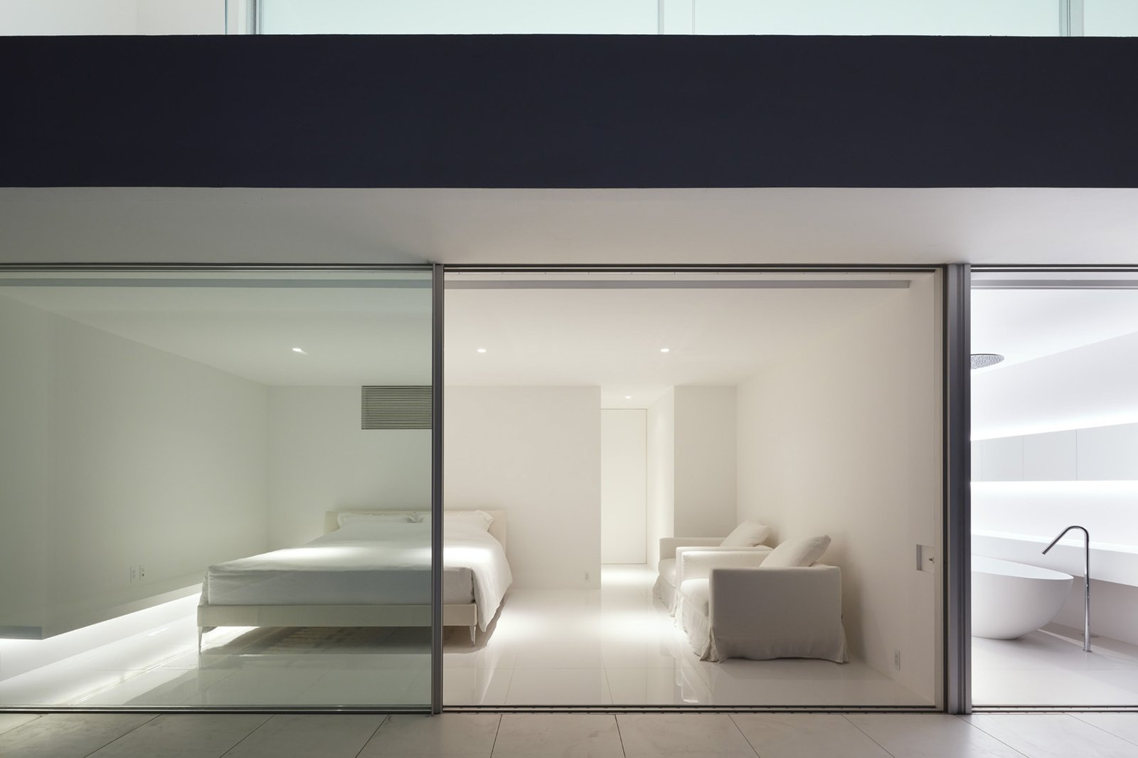 Tagged: Bedroom, Bed, Recessed Lighting, and Ceramic Tile Floor.  Seaside House by Leibal