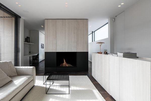 Modern home with living room, wood burning fireplace, dark hardwood floor, recessed lighting, and sofa. Photo 15 of Penthouse O