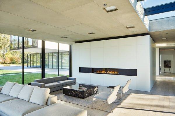Modern home with living room, gas burning fireplace, ceiling lighting, sofa, and light hardwood floor. Photo 12 of OZ Residence