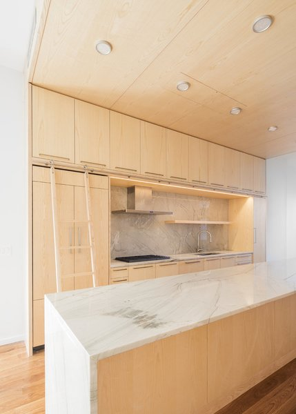 Modern home with kitchen, wood cabinet, light hardwood floor, marble backsplashe, marble counter, recessed lighting, range, range hood, and undermount sink. Photo 16 of Wayne Street Row House
