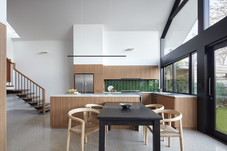 Tagged: Kitchen, Ceramic Tile Backsplashe, Wood Cabinet, Engineered Quartz Counter, Pendant Lighting, Refrigerator, and Drop In Sink.  Kingsville Residence by Leibal