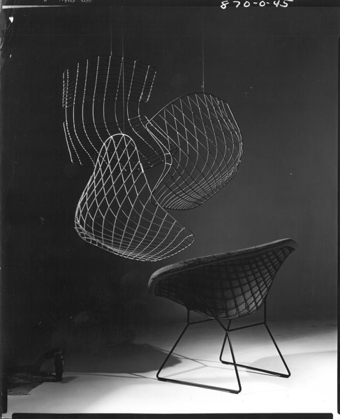 Making Bertoia - Photo 1 of 14 - Outake from an advertisement for the Bertoia Diamond Chair. Photograph by Herbert Matter. Image from the Knoll Archive.