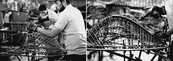 Making Bertoia - Photo 5 of 14 - Workers assembling and bracing a Bertoia Diamond Chair. Photography by Knoll.