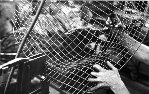 Making Bertoia - Photo 7 of 14 - Excess wire being removed after the rods have been joined. Image Knoll Archive.