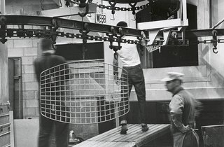 Finished Bertoia Ottoman being transported through the factory for assembly. Image from the Knoll Archive.