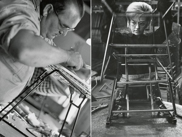 Making Bertoia - Photo 13 of 14 - Factory worker assembling the base and frame of a Bertoia Side Chair. Image from the Knoll Archive.