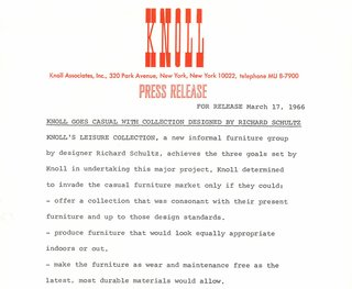 Richard Schultz: Always Pioneering - Photo 7 of 12 - Original press release for The Leisure Collection, 1966. Image from the Knoll Archive.