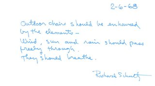 Richard Schultz: Always Pioneering - Photo 12 of 12 - An excerpt from a letter by Richard Schultz, 1968. Image from the Knoll Archive.