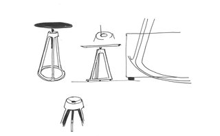 Sketches of Barber Osgerby's Piton™ Side Table for Knoll, 2015. Courtesy of Barber Osgerby.