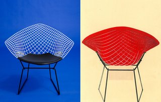 Knoll Inspiration: Reintroducing the Bertoia Two-Tone - Photo 5 of 6 - Left: A photograph of the reissued Bertoia Two-Tone Diamond Chair, 2016. Photograph by Knoll Right: A hand-painted advertisement for the Bertoia Two-Tone Diamond Chair from the 1950s. Image from the Knoll Archive.
