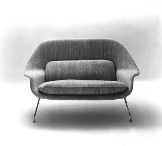 Knoll Inspiration: Reintroducing the Womb Settee - Photo 6 of 8 - Promotional photograph of the Model 70 Womb Settee, 1948. Photograph from the Knoll Archive.