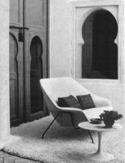 Knoll Inspiration: Reintroducing the Womb Settee - Photo 8 of 8 - Womb Settee at Yves Vidal and Charles Sévigny's home in Tangier, Morocco. Photograph from the Knoll Archive.
