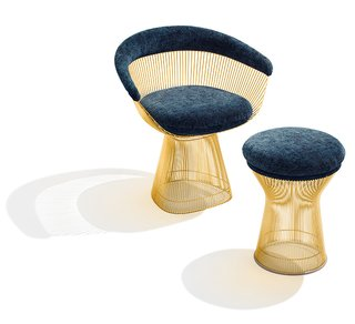 Knoll Inspiration: Introducing Platner Gold - Photo 1 of 6 - Platner Arm Chair and Stool in 18k gold-plated steel. Photograph by Ilan Rubin.