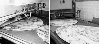 Marble tops being coated to ensure a lasting finish, 2013. Photography by Knoll.