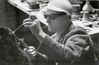 Knoll Inspiration: Harry Bertoia Centennial Celebration - Photo 1 of 5 - Bertoia working with an acetylene torch, 1952.