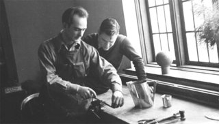 Knoll Inspiration: Harry Bertoia Centennial Celebration - Photo 3 of 5 - Harry Bertoia teaching metalworking at Cranbrook Academy, 1940.